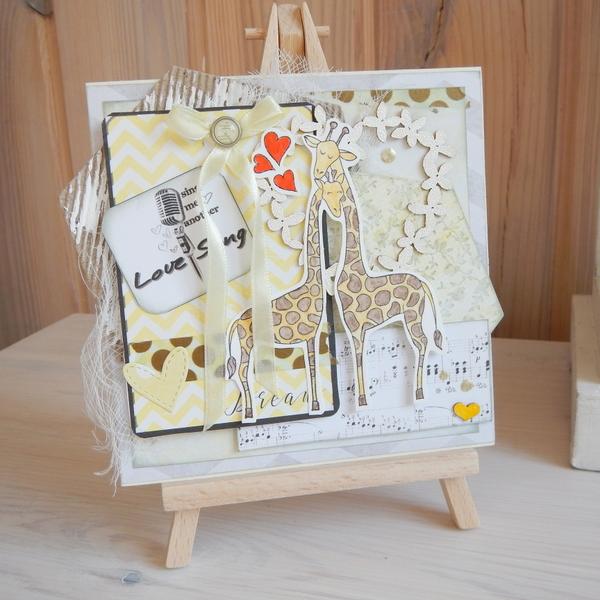 Ręcznie robiona kartka śłubna z żyrafami