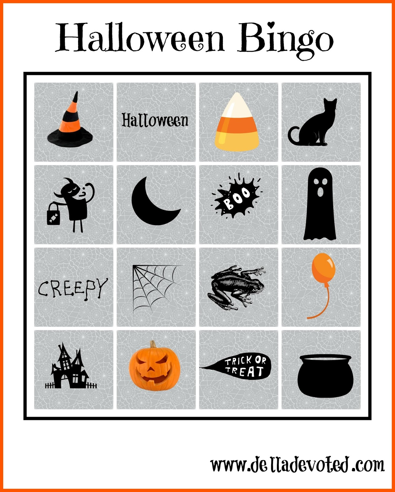 image relating to Printable Halloween Bingo Card called Cost-free Halloween Bingo Printables - Della Focused