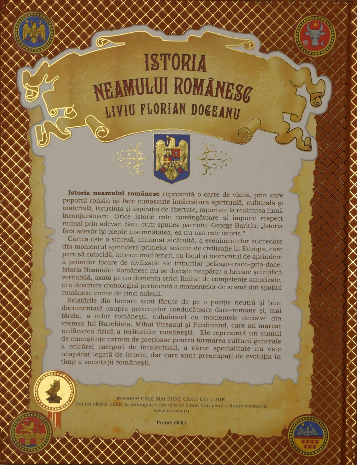 Istoria neamului romanesc - coperta spate+pret