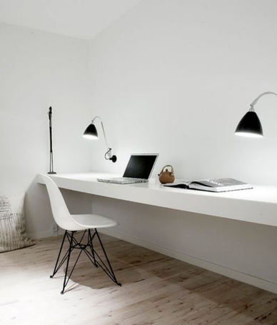 The desk can only feature a worktop with no drawers or storage compartments underneath and the walls can be white and plain.