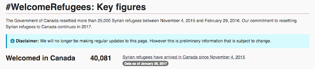 A screen shot of the Government of Canada's refugee page