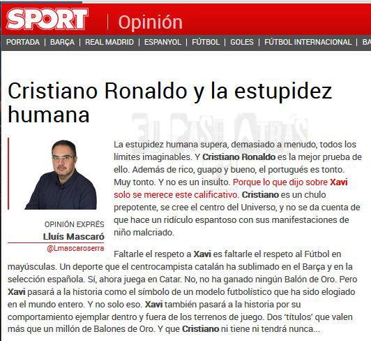 Mascaró del diario Sport insultando a Cristiano Ronaldo