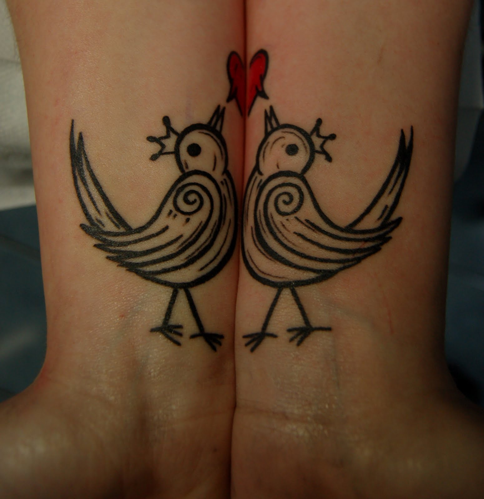 Littel Bird Playing With Heart Tattoo Design For Lovers ! Art Magazine