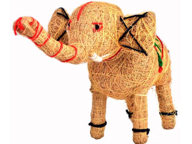 Coconut fiber elephant toy