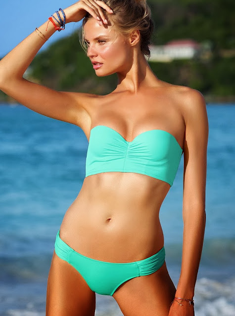 Magdalena Frackowiak gets into hot swimwear from the Victoria's Secret Swim October 2013 collection