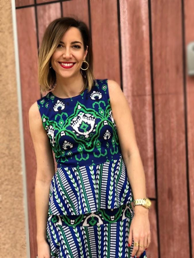Fitness And Chicness-Vestido estamapado azul y verde-Vestido y Tacon-2