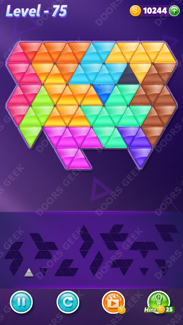 Block! Triangle Puzzle Champion Level 75 Solution, Cheats, Walkthrough for Android, iPhone, iPad and iPod