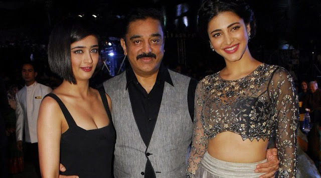 kamal hasan with daughters, shuruti hasan, kamal hasan family