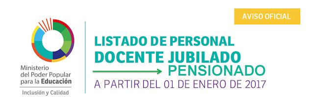 LISTADO DE PERSONAL DOCENTE JUBILADO Y PENSIONADO ENERO 2017