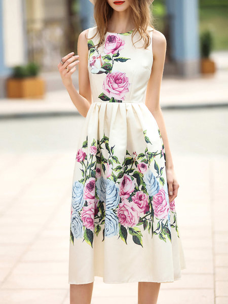 Apricot Floral Folds Sleeveless Midi Dress