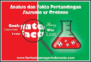 Analisa dan Fakta Menjelang Petandingan Sassuolo vs Crotone Fantasi Manager Indonesia