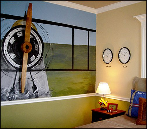 Airplane Bed Theme Bedroom Aviation Themed Ideas Murals Room Decor