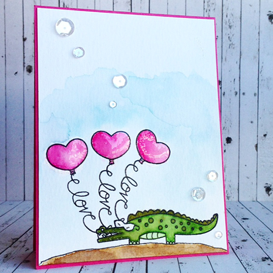 Alligator Love Valentine card by Diane Jaquay | Beach Party stamp set by Newton's Nook Designs #newtonsnook