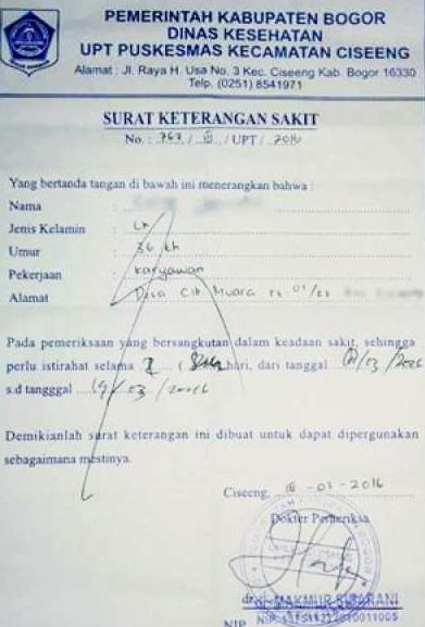 Contoh Surat Keterangan Sakit Dari Dokter Untuk Pegawai