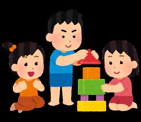 協力して積み木を積み上げる子供たちのイラスト
