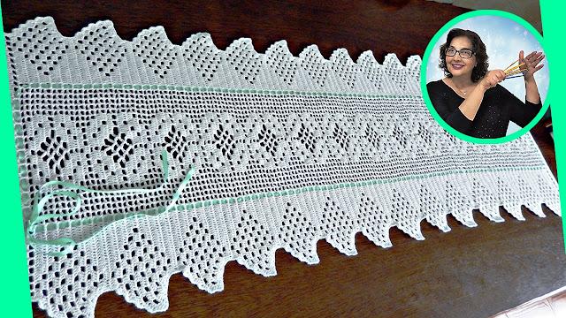 Edinir Croche ensina caminho de mesa em crochê canhotas passo a passo