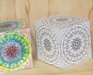Print, color and make this box- example colored with Derwent Inktense Pencils