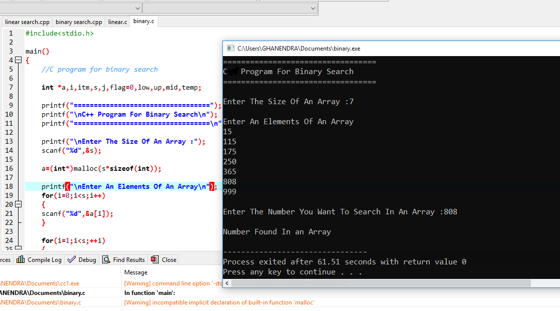 C Program For Binary Search