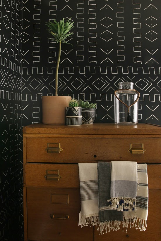 Safari Fusion blog | Obsession: Mud cloth | Bogolan inspired geometric 'Mali' wallpaper by Amber Interiors