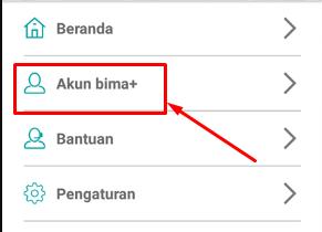 pilih menu akun bima+