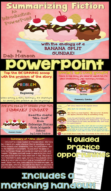 Summarizing Fiction PowerPoint using the ice cream sundae analogy!