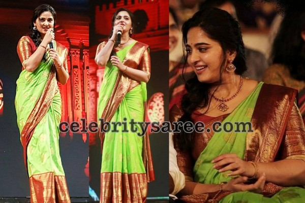 Anushka Shetty Light Green Kanjeevaram Sari