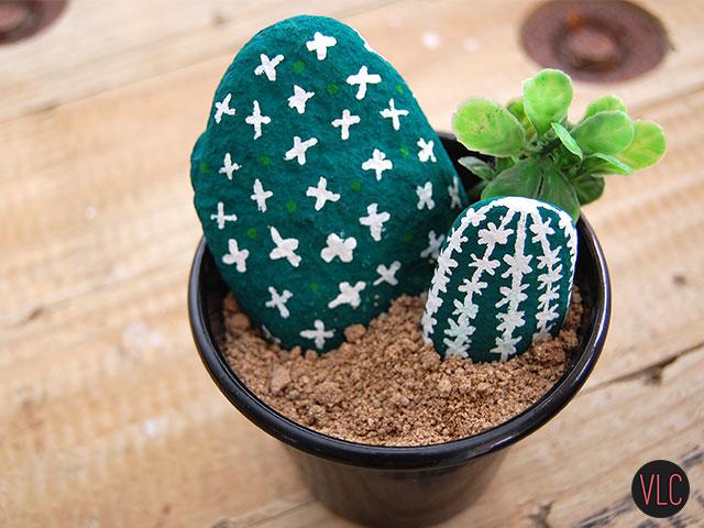 DIY cactus de pedra resultado