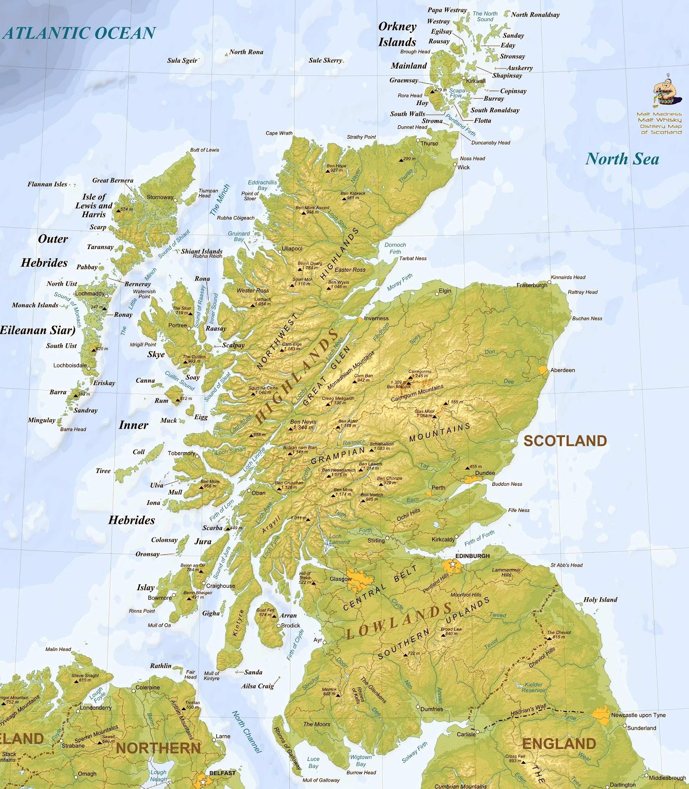skottland karta Whiskyboden: Bra karta över alla destillerier på Skottland! skottland karta