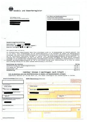 """Scan: Offerte """"Handels und Gewerberegister"""", ZHRG GmbH"""