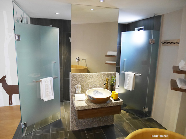 Lovely basin and bath cubicles with glass enclosures
