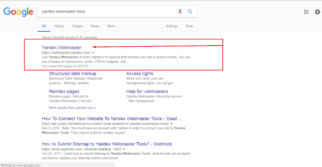 Search Google To Yandex Webmaster Tool