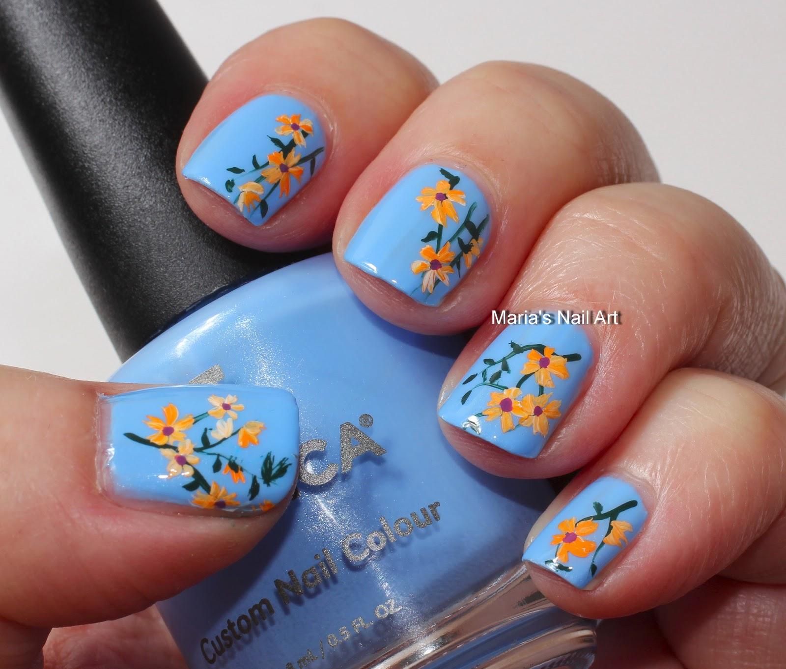 Nail Art Blue Floral: Marias Nail Art And Polish Blog: Orange Flowers For Sophia