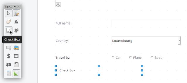 LibreOffice insert checkbox