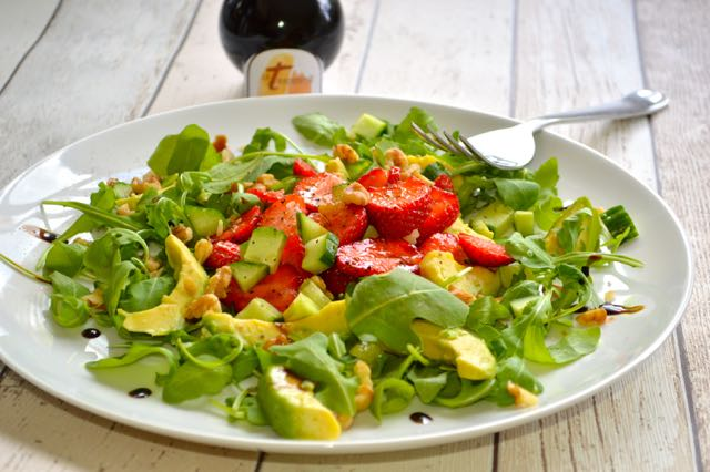 Rocket, Strawberries, Avocado, Cucumber and Walnut Salad dressed with Modena Traditional balsamic vinegar
