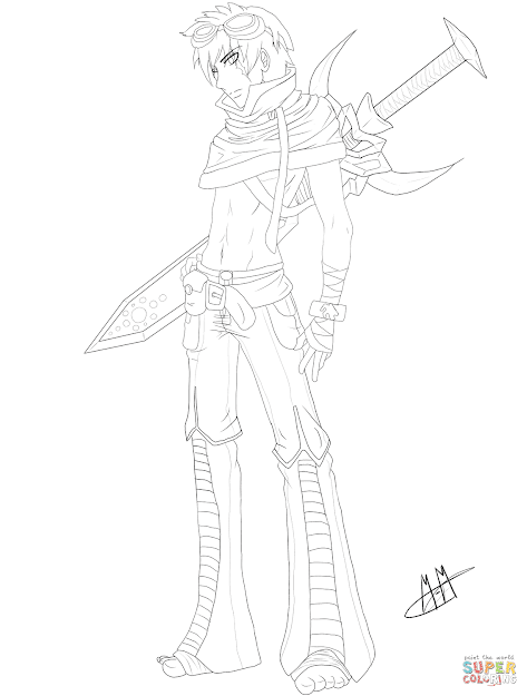 Click The Gaia Anime Boy Character Coloring Pages