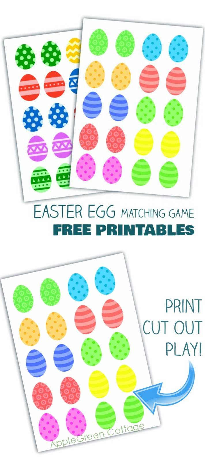 graphic regarding Resurrection Eggs Printable known as Easter Egg Matching Activity - Cost-free Printables - AppleGreen Cottage
