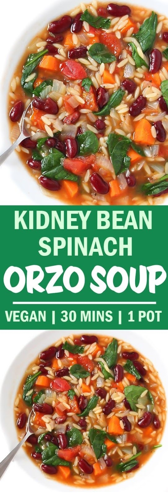 Kidney Bean, Spinach, & Orzo Soup