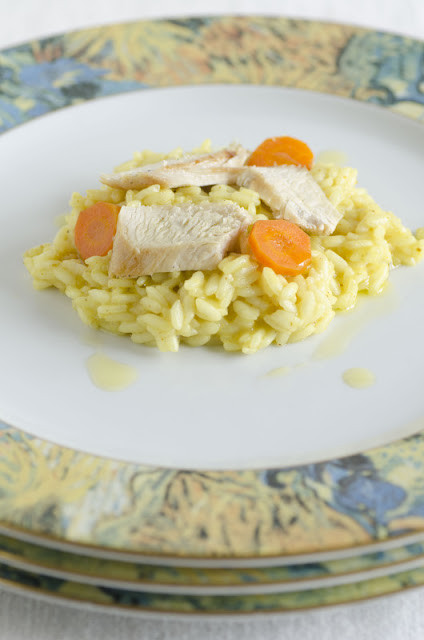 Risotto al curry con pollo