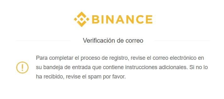 validar correo electrónico en binance