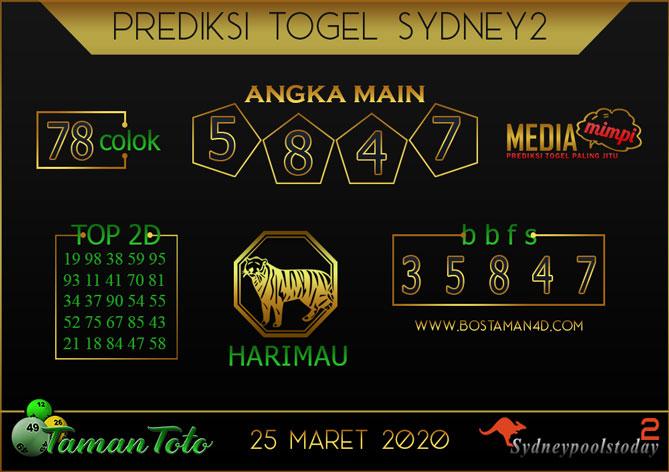 Prediksi Togel SYDNEY 2 TAMAN TOTO 25 MARET 2020
