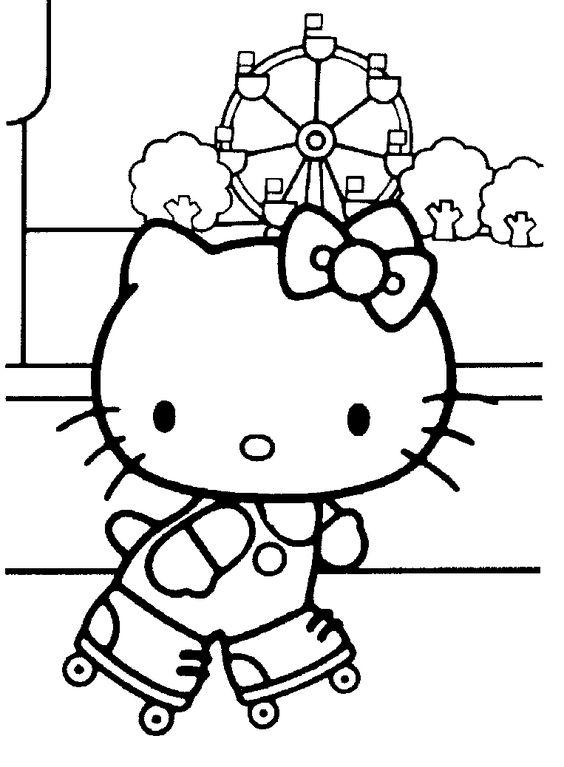 Tranh tô màu mèo hello kitty trượt patin