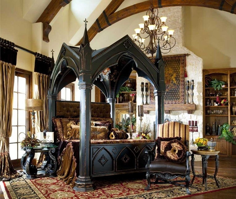 black medieval gothic bedroom furniture