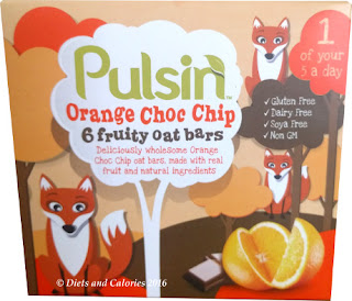 Pulsin Orange Choc Chip fruit oat bars