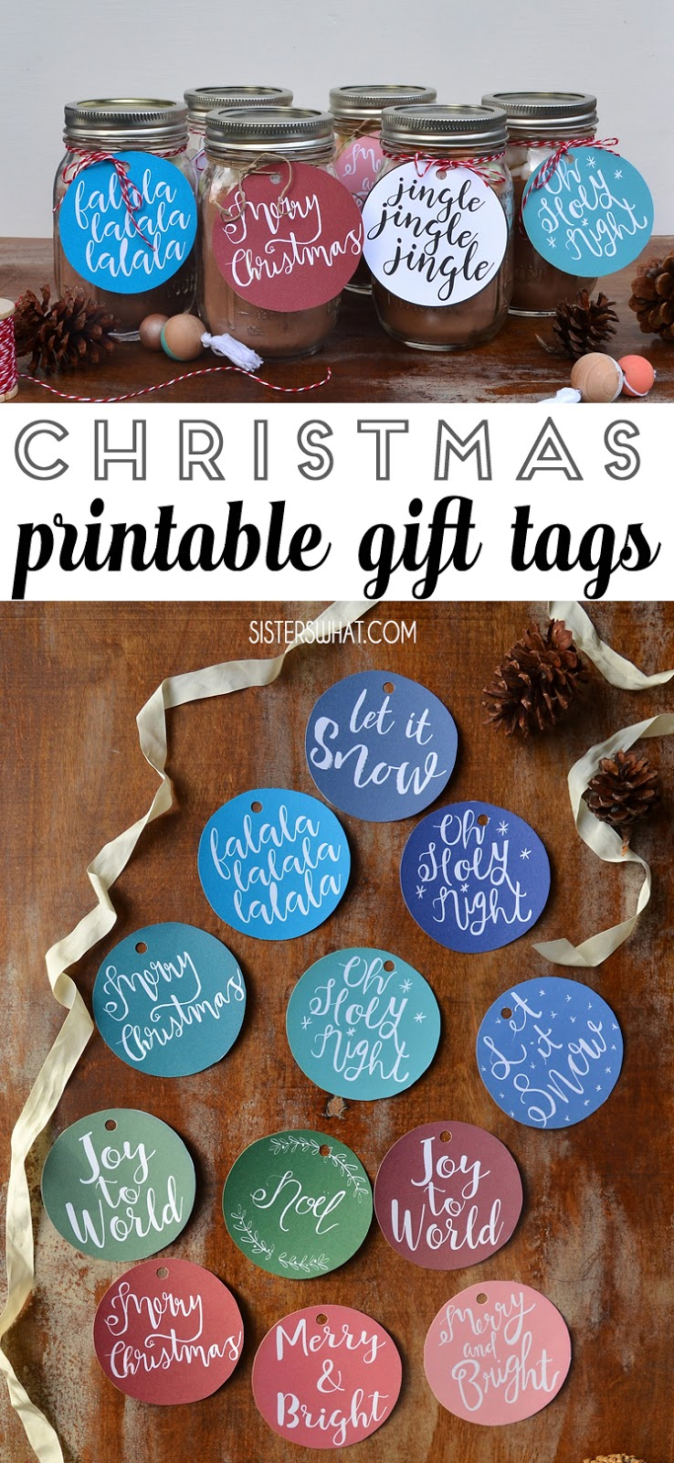 Christmas printable gift tags hot chocolate gift