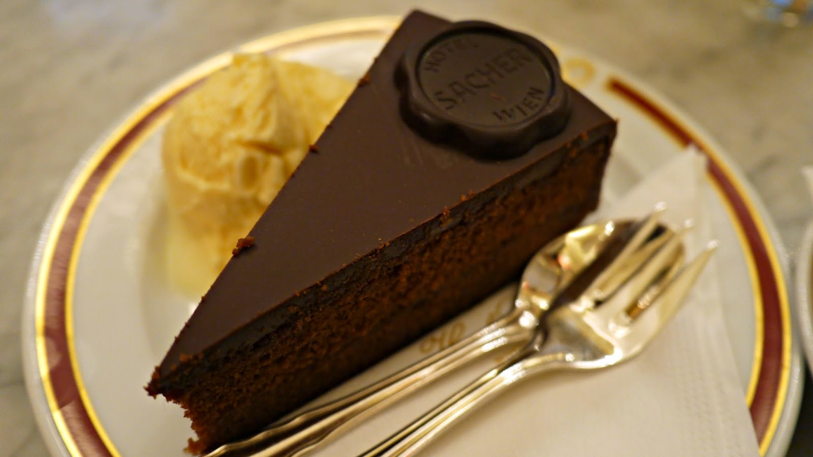 Sacher torte from Sacher cafe hotel in Vienna