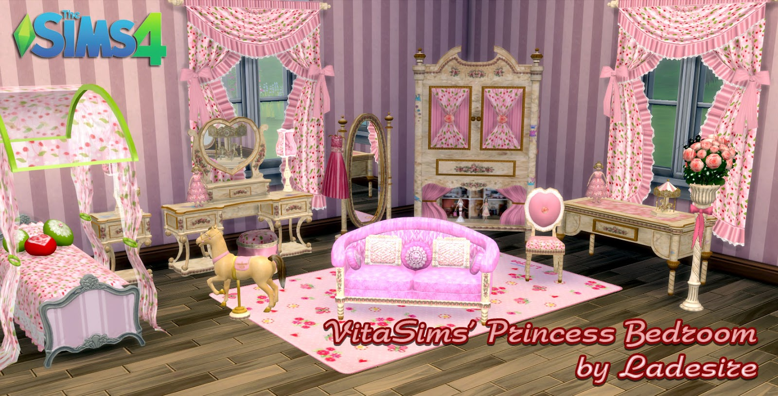 Ladesire 39 s creative corner ts4 vitasims princess for Bedroom designs sims 4