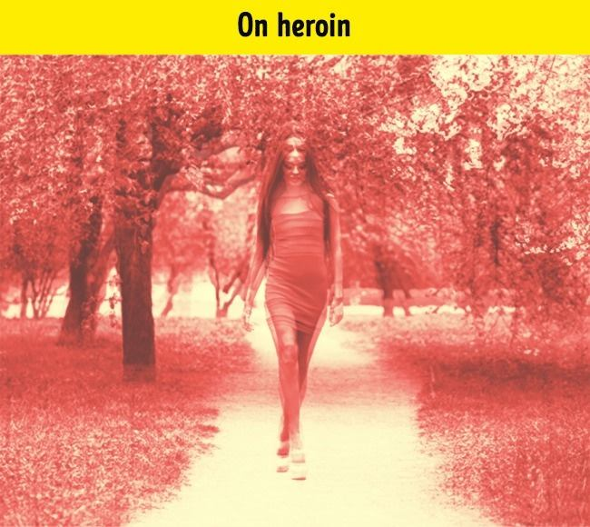 When a person takes heroin, visual images are not as important as the drug causes the life of an individual to lose sense at the moment and the body takes over euphoria.