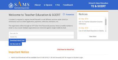 SCERT Odisha C.T, B.ed Online Mock Test 2018