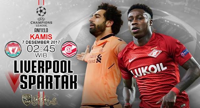 Prediksi Bola : Liverpool Vs Spartak Moscow , Kamis 07 Desember 2017 Pukul 02.45 WIB
