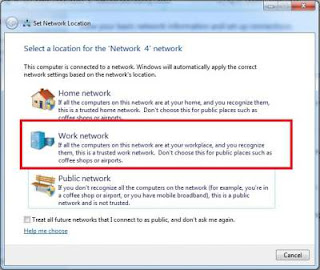 Network Location, work network